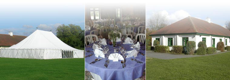 a montage of a marquee, a table set at a party and a view of the hall