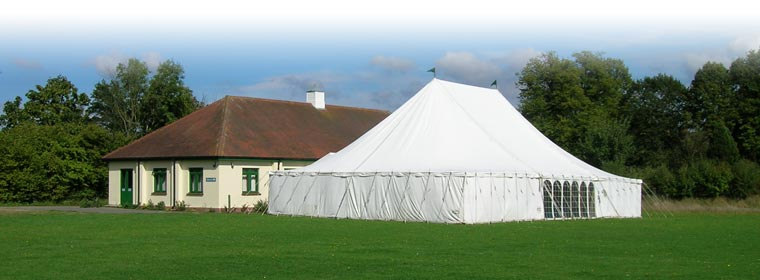 the hall with a large marquee attached